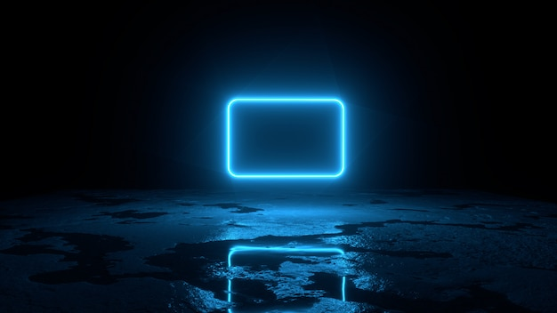 O fundo 3d abstrato rende, a mosca de néon azul do quadro sobre a terra, a retrowave e a ilustração do synthwave.