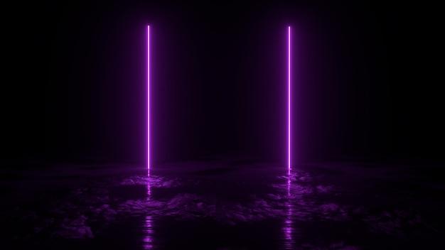 O fundo 3d abstrato rende, dois neons cor-de-rosa iluminam-se na terra, na retrowave e na ilustração do synthwave.