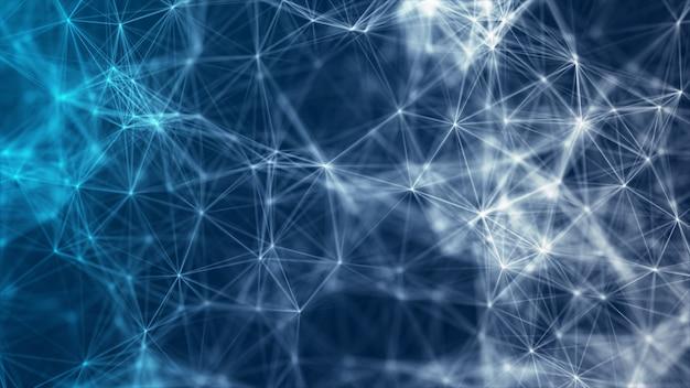 O fundo abstrato azul poligonal molda o conceito neural de big data de conexões neurais de rede
