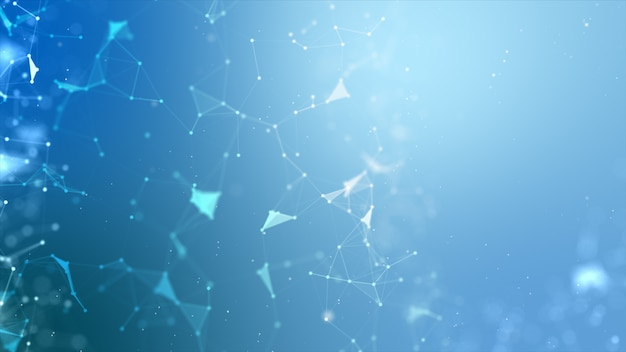 O fundo abstrato dot e conecta a linha para o futurista da tecnologia do cyber e o wireframe do conceito da conexão de rede