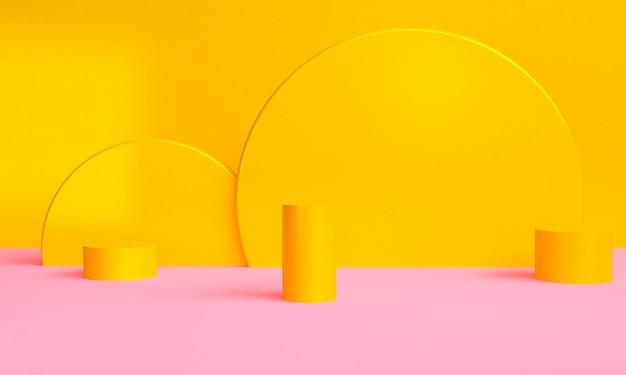 O fundo abstrato minimalista da forma geométrica amarela, 3d rende.