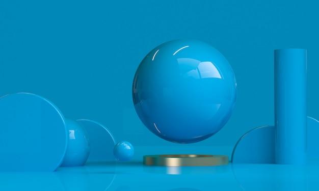 O fundo abstrato minimalista da forma geométrica azul, 3d rende.