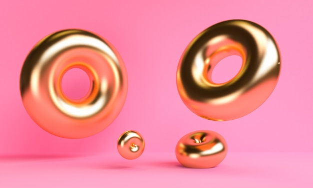 O fundo abstrato minimalista do ouro, figuras geométricas primitivas, cores pastel, 3d rende.
