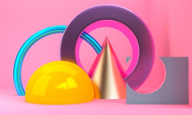 O fundo abstrato minimalista, figuras geométricas primitivas, 3d rende.
