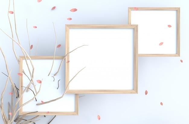 O fundo branco com moldura para retrato e o rosa do sopro sae, ramifica.