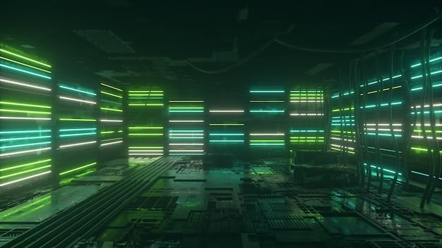 O fundo de néon verde e azul aparece e desaparece