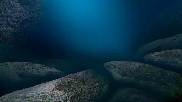 O fundo do mar os raios do sol através da água ilustração 3d