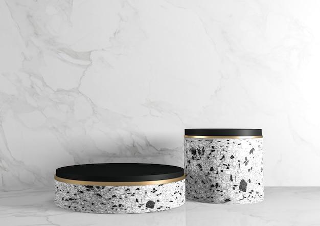 O fundo e o pódio modernos do granito mostram a geometria do produto cosmético. renderização 3d