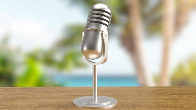 O fundo externo do microfone para renderização em 3d de conceito de mídia ou podcast