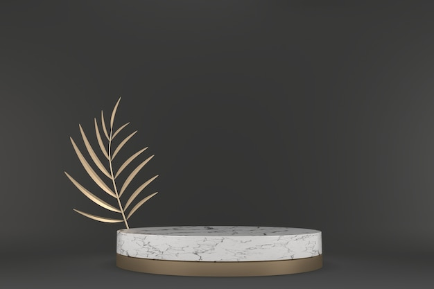 O fundo moderno do granito preto e o pódio branco mostram o produto cosmético geométrico. renderização 3d