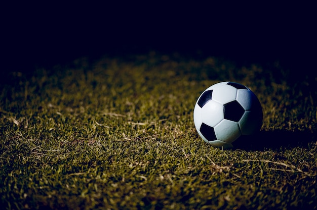 O futebol é colocado no gramado verde. conceitos de esportes rush exercício e copie o espaço.