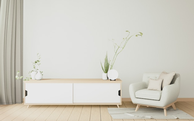 O gabinete de madeira interior e poltrona minimalista na moderna sala branca japonesa. renderização 3d