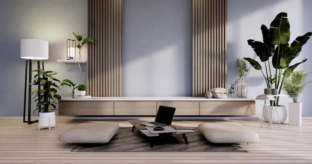 O gabinete mock-se no interior do quarto moderno com design azul e poltrona amarela. renderização 3d