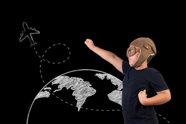 O garoto finge ser um super-herói e está jogando como astronauta. desenhe o conceito