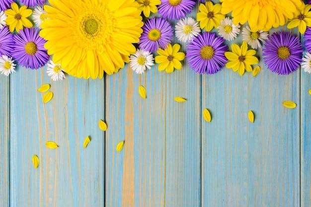 O gerbera amarelo, a margarida e o jardim roxo florescem em uma tabela de madeira azul.