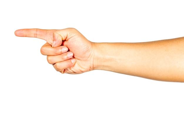 O gesto da mão apontando para a frente.