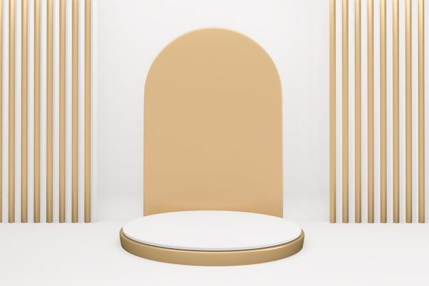 O golden podium mínimo geométrico branco e ouro estilo abstract.3d renderização
