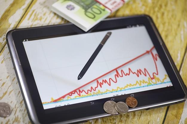 O gráfico de crescimento da renda. tablet eletrônico com um gráfico de taxas de crescimento de lucro. a moeda no gráfico do smartphone.