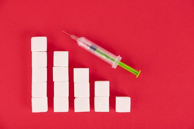O gráfico de crescimento é feito de cubos de açúcar. conceito para o crescimento do número de pacientes com diabetes ao redor do mundo. fundo vermelho. copie o espaço.