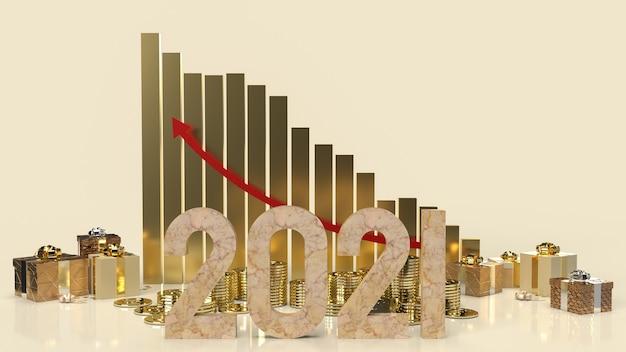 O gráfico de negócios de 2021 anos seta vermelha para cima e moedas para renderização em 3d de conteúdo de negócios.