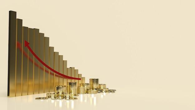 O gráfico de negócios seta vermelha para cima e moedas para renderização 3d de conteúdo de negócios.
