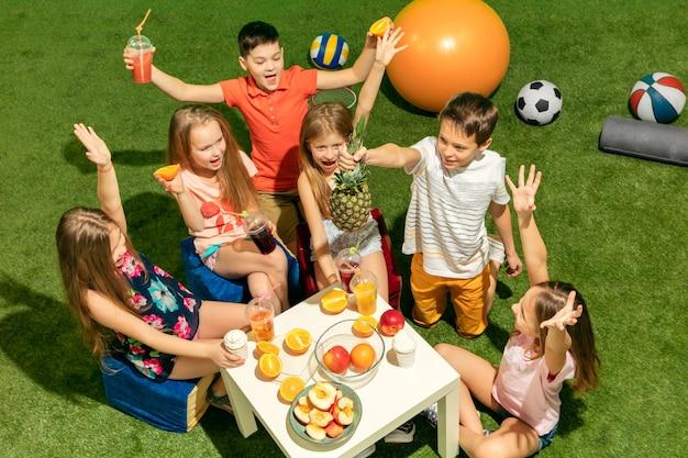 O grupo de meninos e meninas adolescentes sentados na grama verde do parque