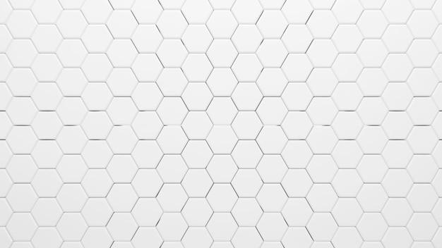 O hexágono branco abstrato dá forma ao fundo, renderização em 3d
