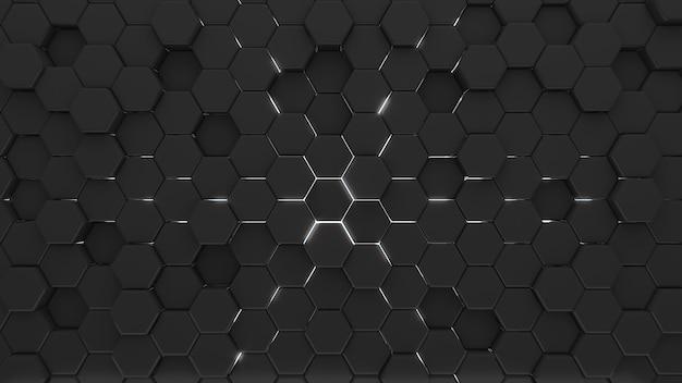 O hexágono preto abstrato dá forma ao fundo com luz, renderização em 3d