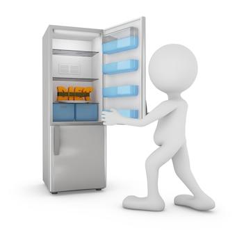 O homem abriu a geladeira na qual a inscrição volumétrica