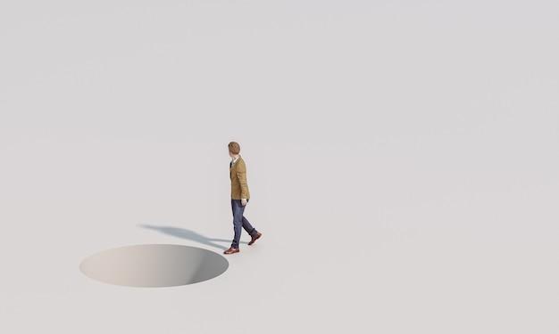 O homem caminha sem se importar com o perigo à sua frente. imagem e modelos de renderização 3d