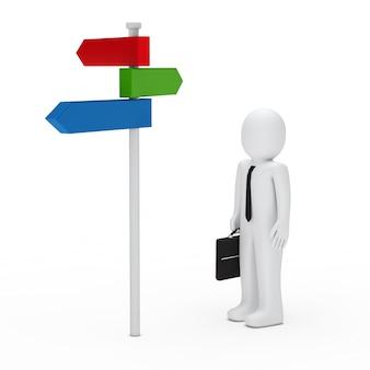 O homem de negócios ao lado de um poste de sinalização colorido