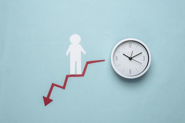 O homem de papel desce ao longo de uma seta curva vermelha tendendo para baixo e o relógio