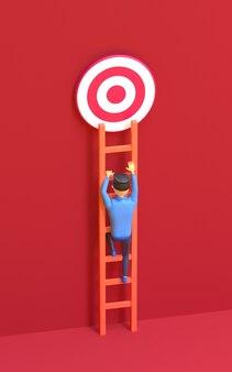 O homem dos desenhos animados sobe a escada para atingir o objetivo ilustração 3d render