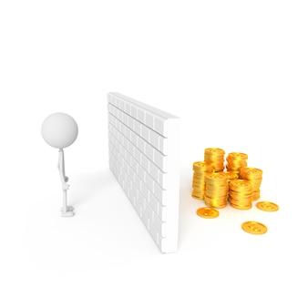 O homem encontra o caminho para conseguir o dinheiro. renderização em 3d.