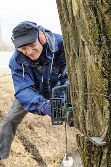 O homem está cortando uma árvore com uma serra elétrica.
