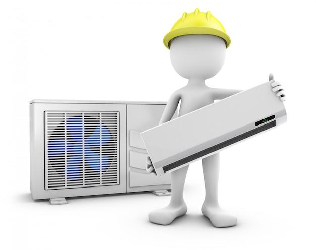 O homem prende o condicionador de ar no fundo branco.