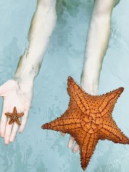 O homem segura as estrelas do mar em seus braços brancos