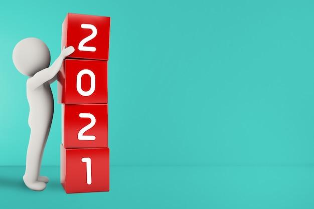 O homenzinho forma com cubos vermelhos a data ano 2021