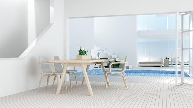 O hotel mínimo interior relaxar espaço piscina renderização em 3d e vista da natureza