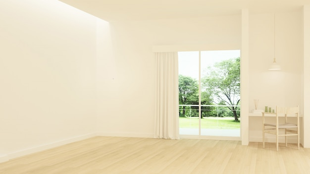 O hotel mínimo interior relaxar espaço renderização em 3d e natureza vista