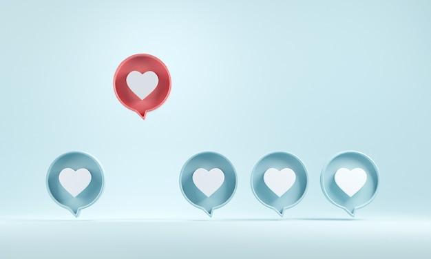 O ícone de notificação de amor aparece de outras pessoas no fundo azul.