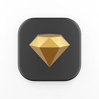 O ícone do diamante dourado. chave do botão quadrado preto de renderização 3d, elemento interface ui ux.
