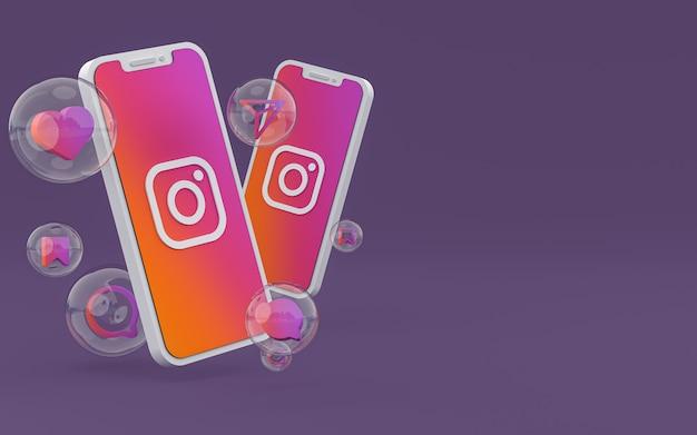 O ícone do instagram na tela do smartphone ou as reações do celular e do instagram adoram renderização em 3d