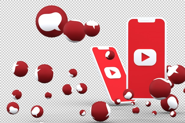 O ícone do youtube na tela smartphone e as reações do youtube amam emoji 3d render em fundo transparente
