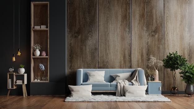 O interior da sala de estar tem um sofá vazio, uma parede de madeira escura. renderização 3d