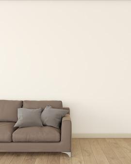 O interior da sala é decorado com um sofá marrom no chão de madeira.
