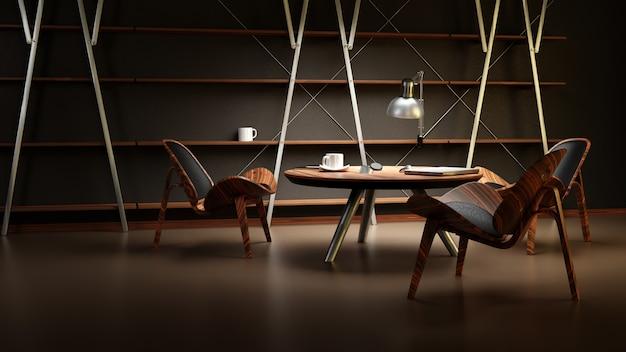O interior da sala mal iluminada, com três cadeiras e uma mesa, é feito em estilo empresarial moderno.