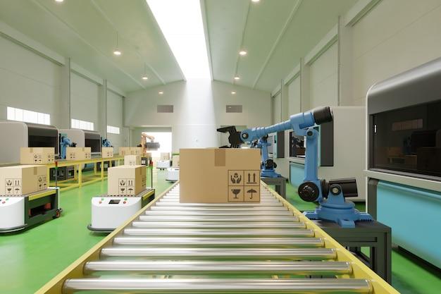 O interior do armazém no centro logístico possui o braço agv / robot.
