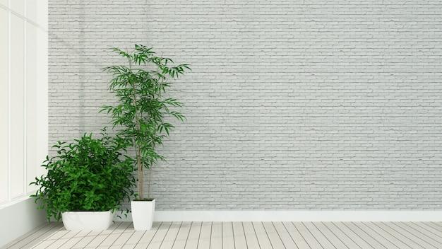 O interior do hotel relaxar espaço renderização em 3d na parede de tijolo do hotel
