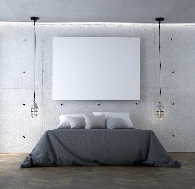 O interior do quarto e a decoração dos móveis e o fundo vazio do padrão da parede de concreto